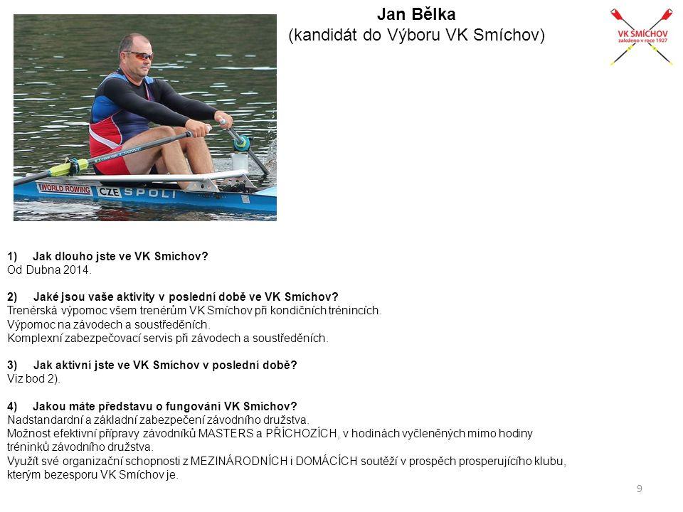 Jan Bělka (kandidát do Výboru VK Smíchov) 1)Jak dlouho jste ve VK Smíchov? Od Dubna 2014. 2) Jaké jsou vaše aktivity v poslední době ve VK Smíchov? Tr