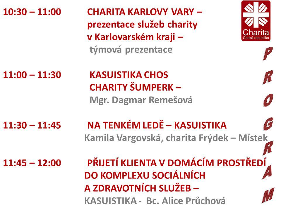 10:30 – 11:00 CHARITA KARLOVY VARY – prezentace služeb charity v Karlovarském kraji – týmová prezentace 11:00 – 11:30 KASUISTIKA CHOS CHARITY ŠUMPERK – Mgr.