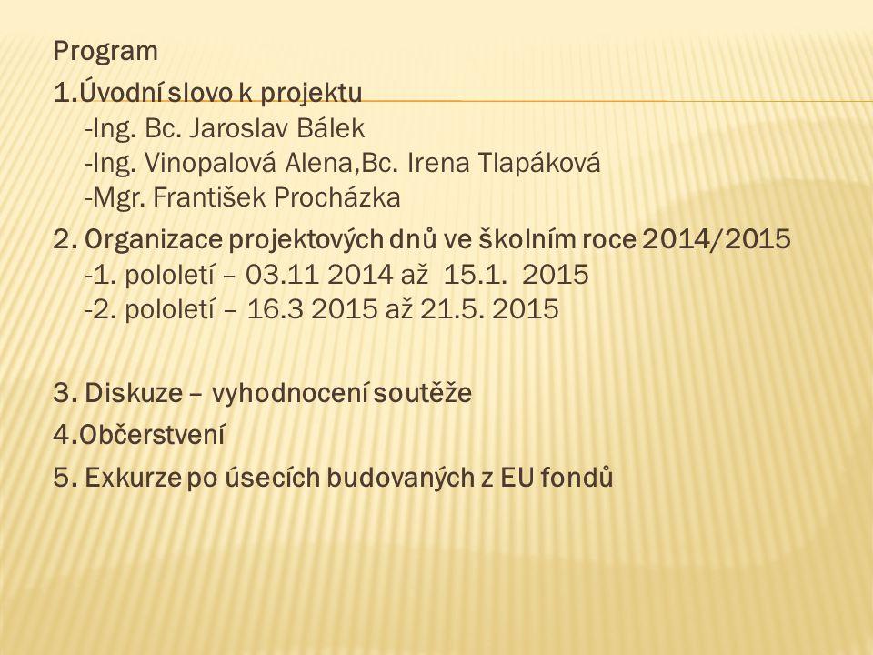 Program 1.Úvodní slovo k projektu -Ing. Bc. Jaroslav Bálek -Ing.
