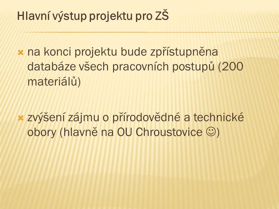 Hlavní výstup projektu pro ZŠ  na konci projektu bude zpřístupněna databáze všech pracovních postupů (200 materiálů)  zvýšení zájmu o přírodovědné a technické obory (hlavně na OU Chroustovice )