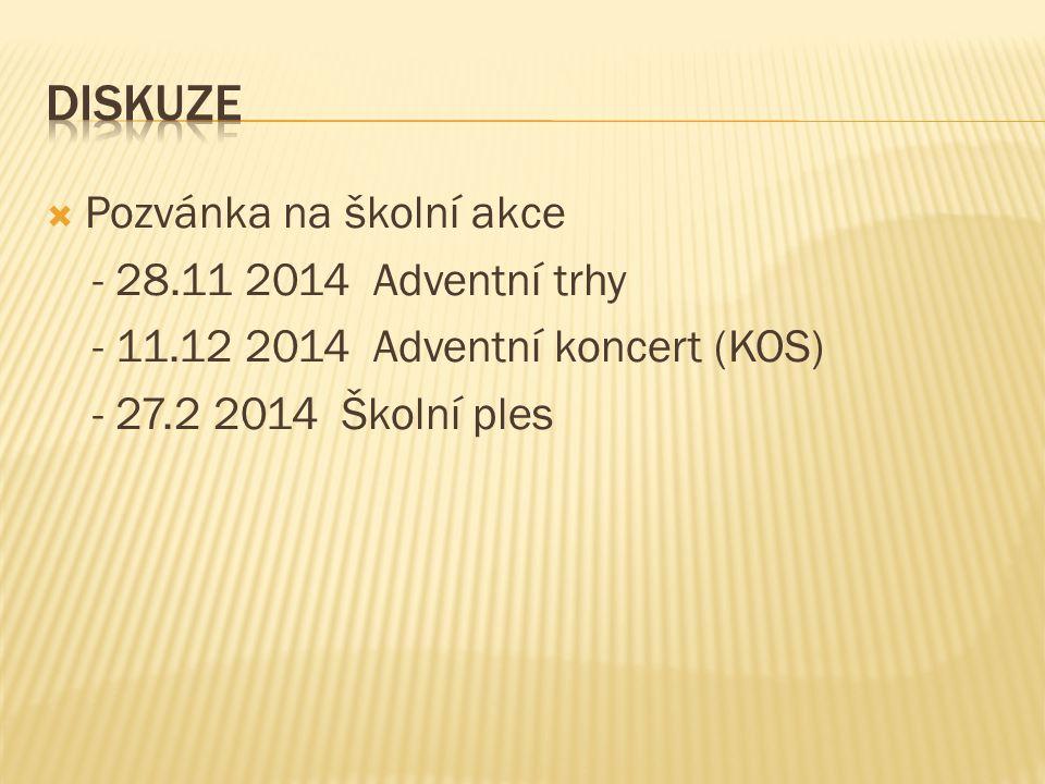  Pozvánka na školní akce - 28.11 2014 Adventní trhy - 11.12 2014 Adventní koncert (KOS) - 27.2 2014 Školní ples