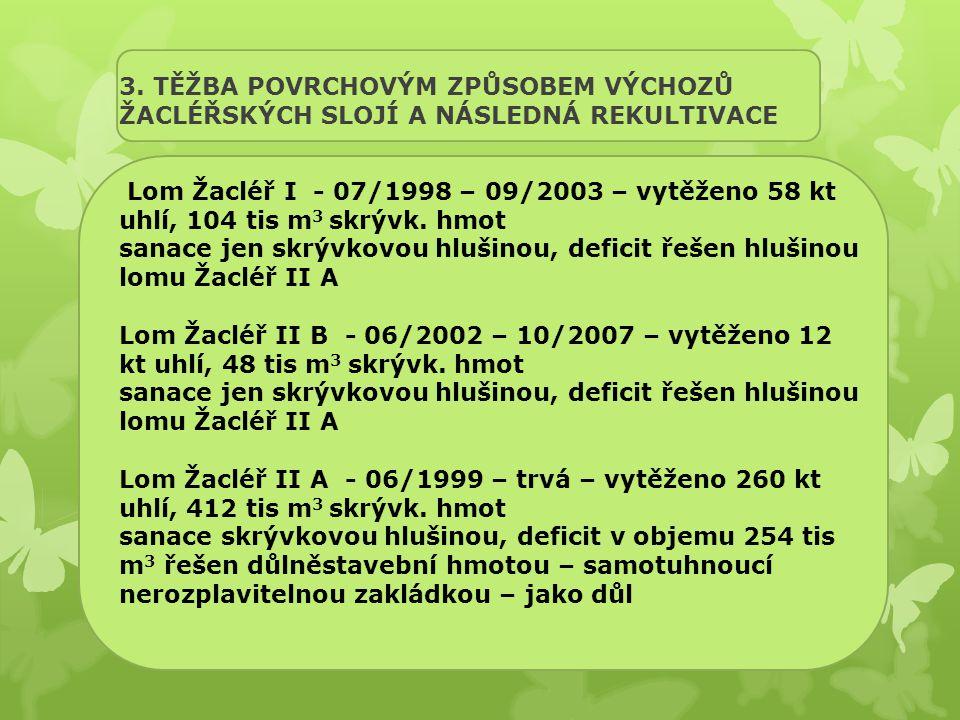 3. TĚŽBA POVRCHOVÝM ZPŮSOBEM VÝCHOZŮ ŽACLÉŘSKÝCH SLOJÍ A NÁSLEDNÁ REKULTIVACE Lom Žacléř I - 07/1998 – 09/2003 – vytěženo 58 kt uhlí, 104 tis m 3 skrý
