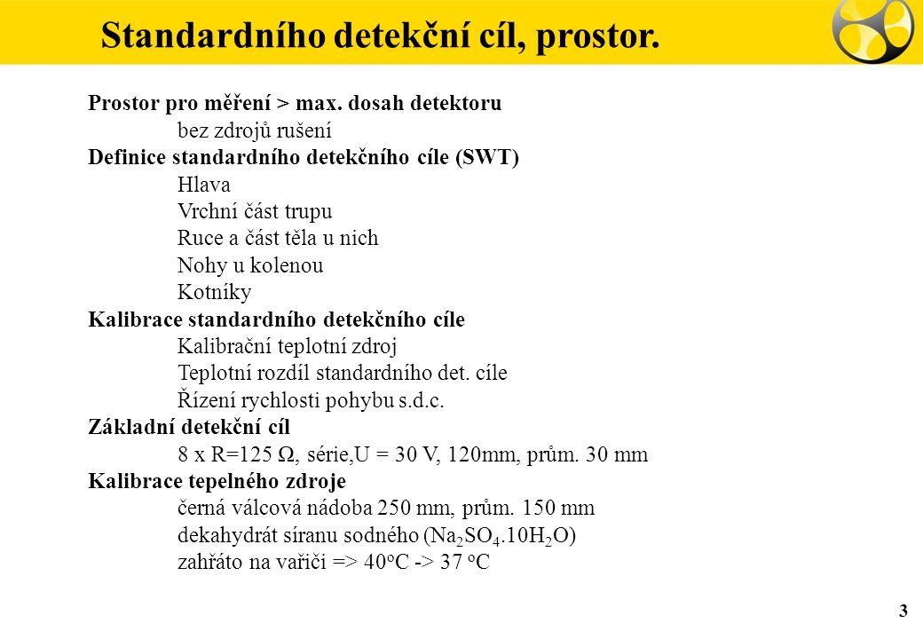 Standardního detekční cíl, prostor. 3 Prostor pro měření > max. dosah detektoru bez zdrojů rušení Definice standardního detekčního cíle (SWT) Hlava Vr