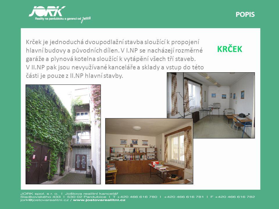 KRČEK POPIS Krček je jednoduchá dvoupodlažní stavba sloužící k propojení hlavní budovy a původních dílen. V I.NP se nacházejí rozměrné garáže a plynov
