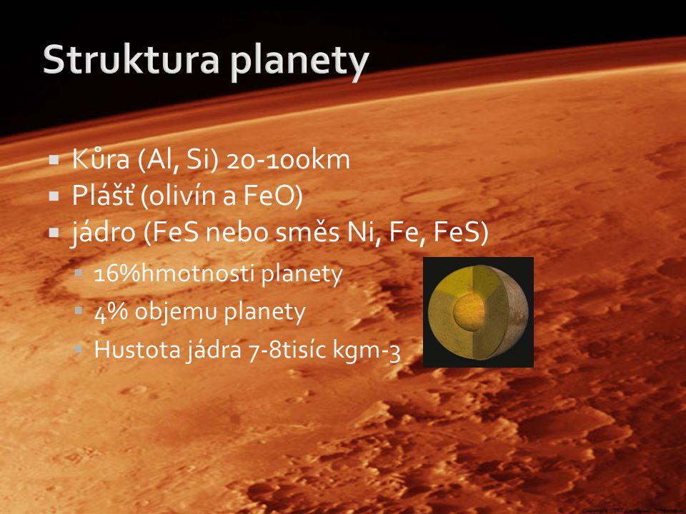  Kůra (Al, Si) 20-100km  Plášť (olivín a FeO)  jádro (FeS nebo směs Ni, Fe, FeS)  16%hmotnosti planety  4% objemu planety  Hustota jádra 7-8tisíc kgm-3