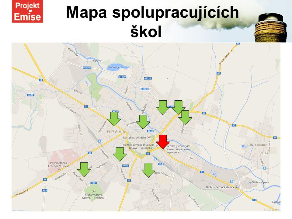 Mapa spolupracujících škol