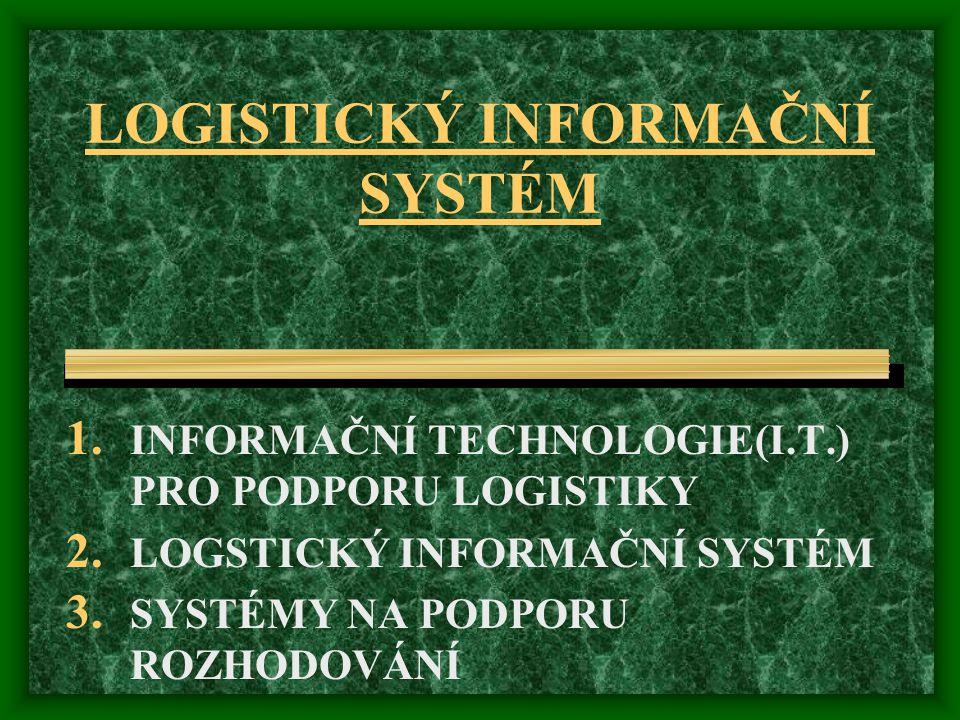 LOGISTICKÝ INFORMAČNÍ SYSTÉM 1.INFORMAČNÍ TECHNOLOGIE(I.T.) PRO PODPORU LOGISTIKY 2.