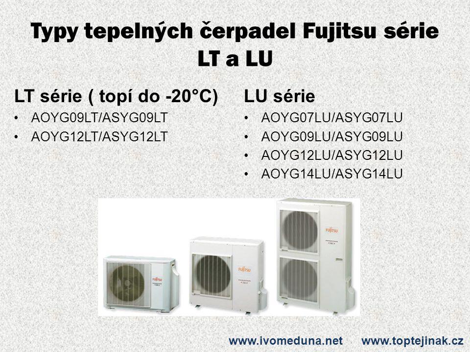 Typy tepelných čerpadel Fujitsu série LT a LU LT série ( topí do -20°C) AOYG09LT/ASYG09LT AOYG12LT/ASYG12LT LU série AOYG07LU/ASYG07LU AOYG09LU/ASYG09LU AOYG12LU/ASYG12LU AOYG14LU/ASYG14LU www.ivomeduna.net www.toptejinak.cz