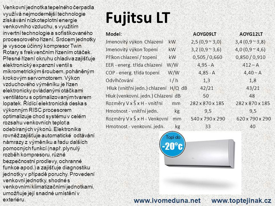 Fujitsu LT Model: AOYG09LT AOYG12LT Jmenovitý výkon Chlazení kW 2,5 (0,9 ~ 3,0) 3,4 (0,9 ~ 3,8) Jmenovitý výkon Topení kW 3,2 (0,9 ~ 3,6) 4,0 (0,9 ~ 4,6) Příkon chlazení / topení kW 0,505 / 0,660 0,850 / 0,910 EER - energ.