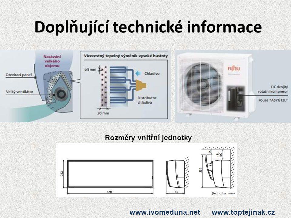 Doplňující technické informace Rozměry vnitřní jednotky www.ivomeduna.net www.toptejinak.cz