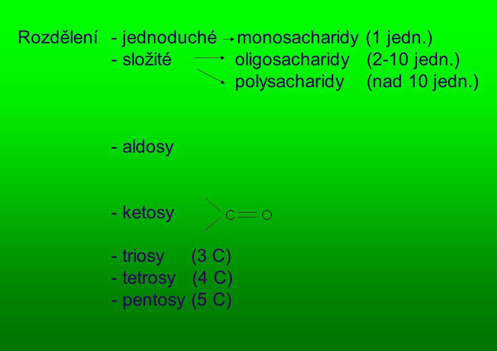 Rozdělení - jednoduché monosacharidy (1 jedn.) - složité oligosacharidy (2-10 jedn.) polysacharidy (nad 10 jedn.) - aldosy - ketosy - triosy (3 C) - tetrosy (4 C) - pentosy (5 C)