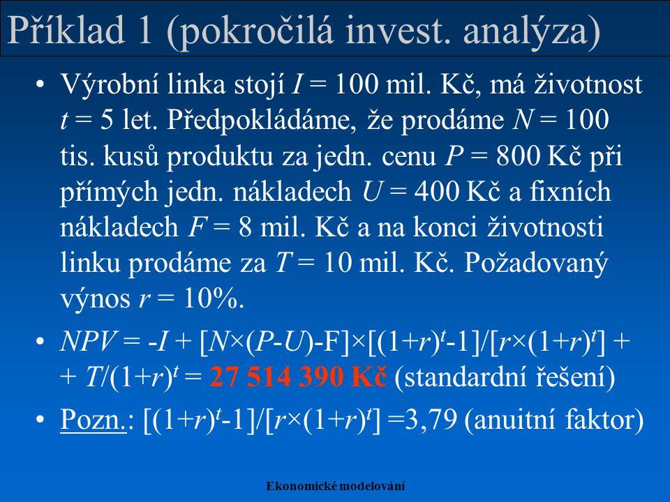 Ekonomické modelování Příklad 1 (bod zvratu, citlivostní anal.) Bod zvratu analyticky (vztaženo k N): NPV = -I + [N*×(P-U)-F]×3,79 + T/(1+r) t  0 N* = [(100000000-6209213)/3,79079+8000000] /400 = 81 854,43 ks Numerické řešení iterací (srov.