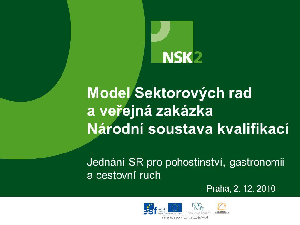 Model Sektorových rad a veřejná zakázka Národní soustava kvalifikací Jednání SR pro pohostinství, gastronomii a cestovní ruch Praha, 2. 12. 2010