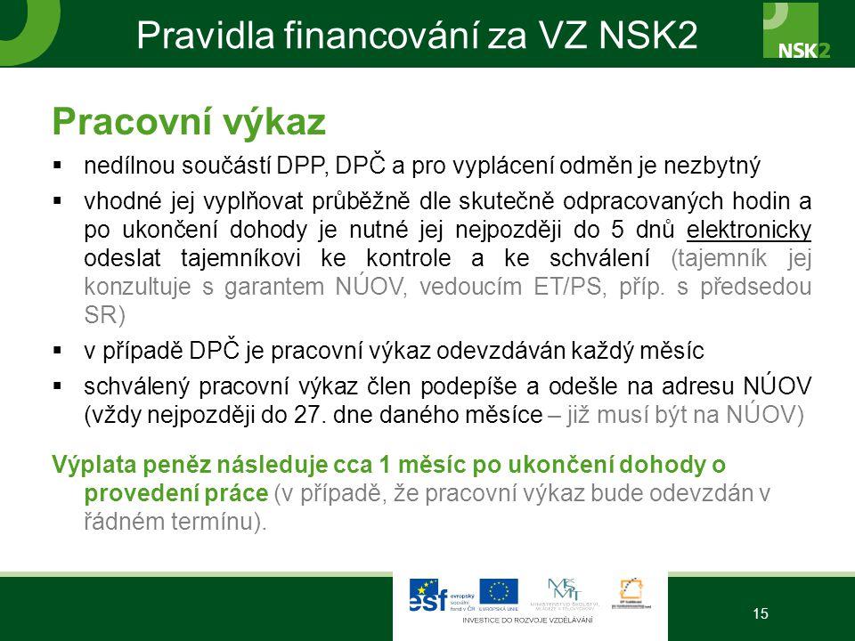 Pravidla financování za VZ NSK2 Pracovní výkaz  nedílnou součástí DPP, DPČ a pro vyplácení odměn je nezbytný  vhodné jej vyplňovat průběžně dle skut