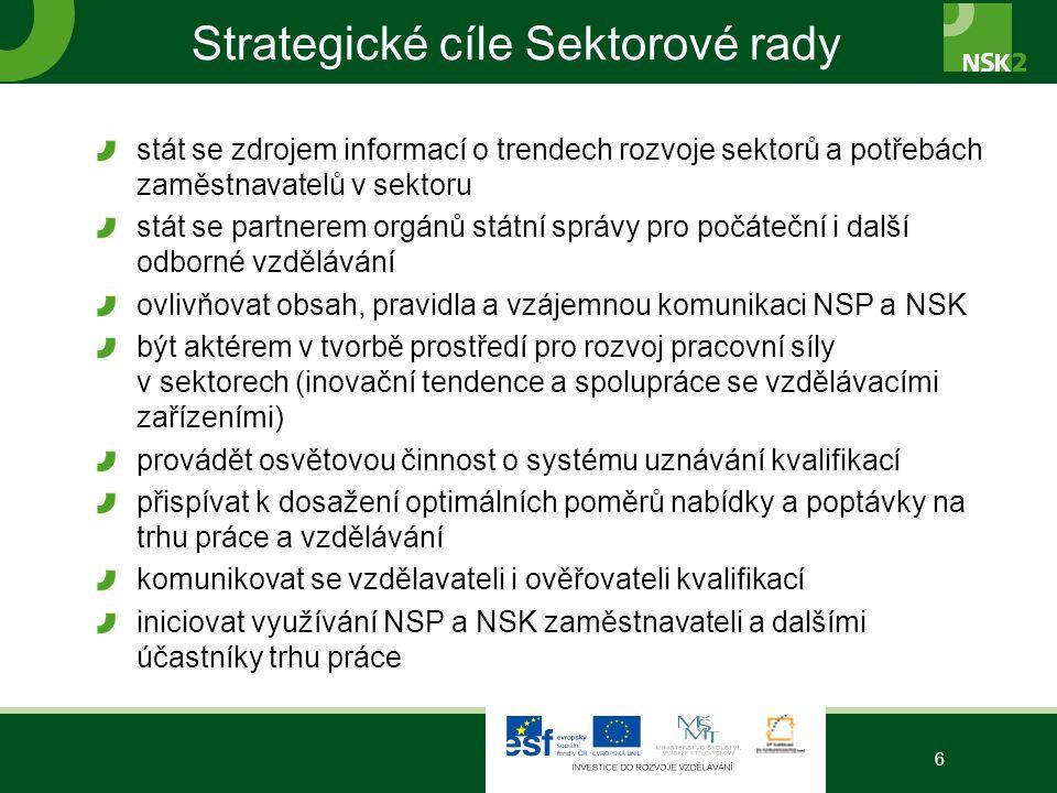 Strategické cíle Sektorové rady stát se zdrojem informací o trendech rozvoje sektorů a potřebách zaměstnavatelů v sektoru stát se partnerem orgánů stá