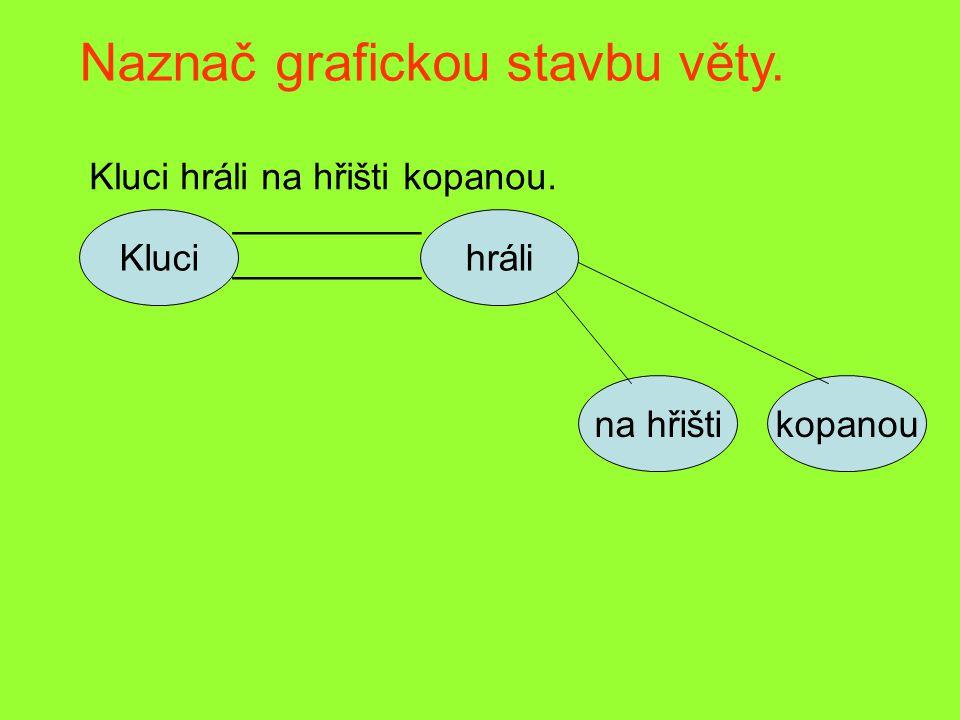 Naznač grafickou stavbu věty. Kluci hráli na hřišti kopanou. Kluci _________ hráli na hřištikopanou