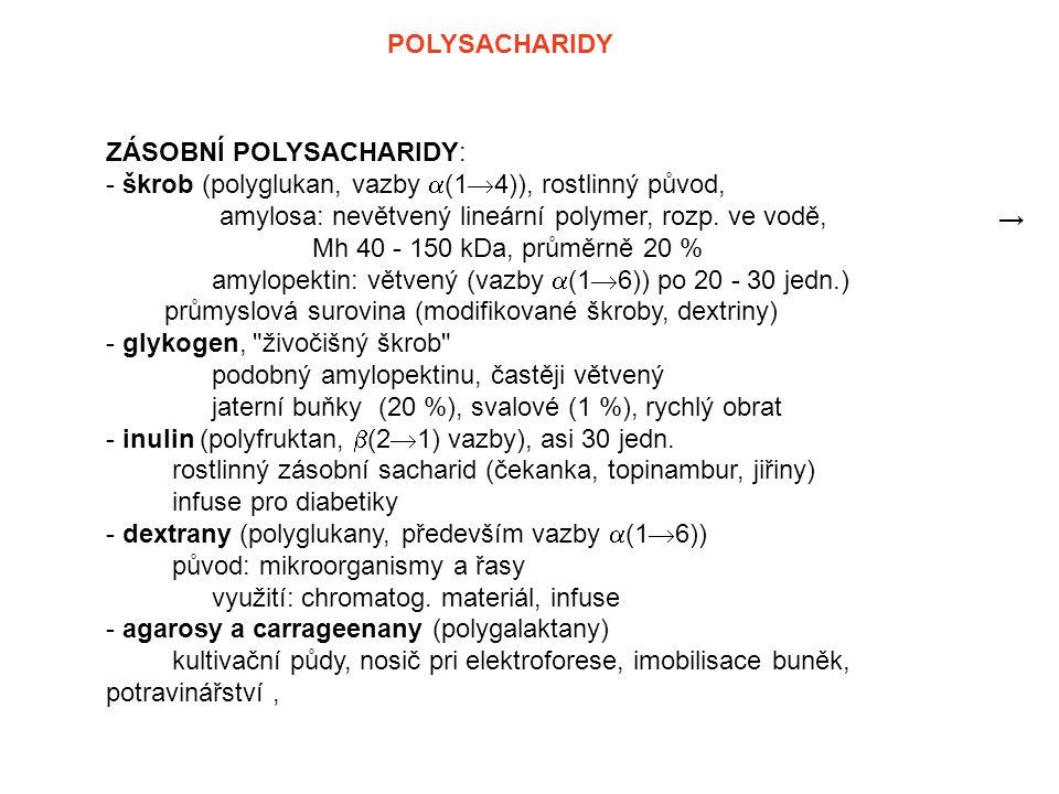 POLYSACHARIDY ZÁSOBNÍ POLYSACHARIDY: - škrob (polyglukan, vazby  (1  4)), rostlinný původ, amylosa: nevětvený lineární polymer, rozp. ve vodě, Mh 40