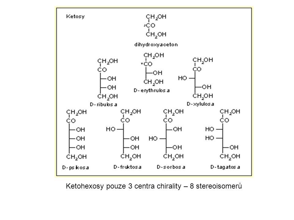 Ketohexosy pouze 3 centra chirality – 8 stereoisomerů