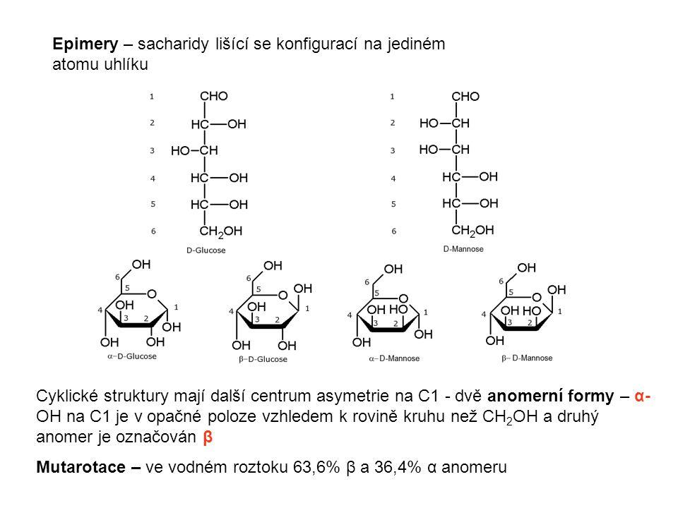 Epimery – sacharidy lišící se konfigurací na jediném atomu uhlíku Cyklické struktury mají další centrum asymetrie na C1 - dvě anomerní formy – α- OH n
