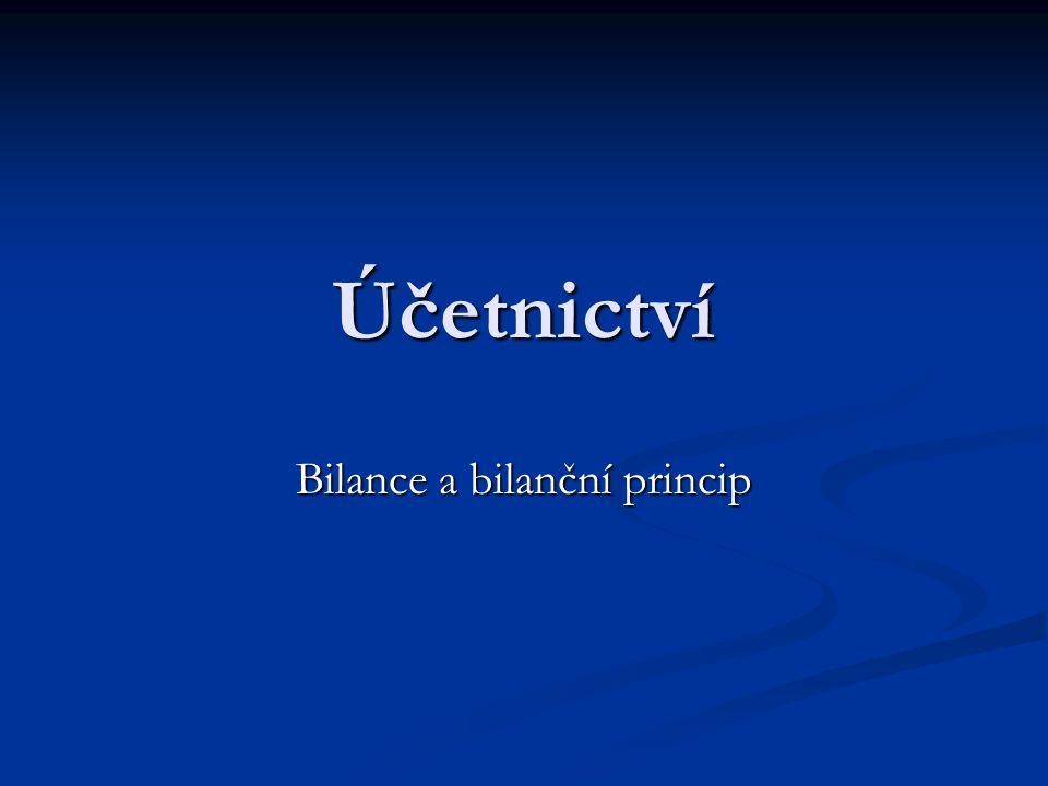 Účetnictví Bilance a bilanční princip