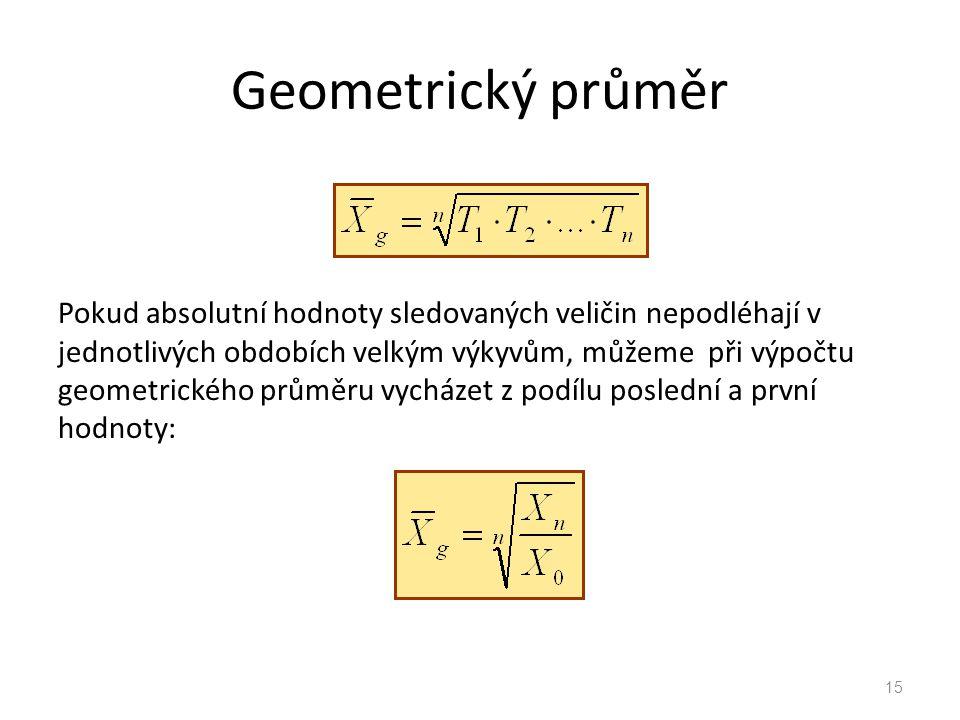 Geometrický průměr Pokud absolutní hodnoty sledovaných veličin nepodléhají v jednotlivých obdobích velkým výkyvům, můžeme při výpočtu geometrického pr