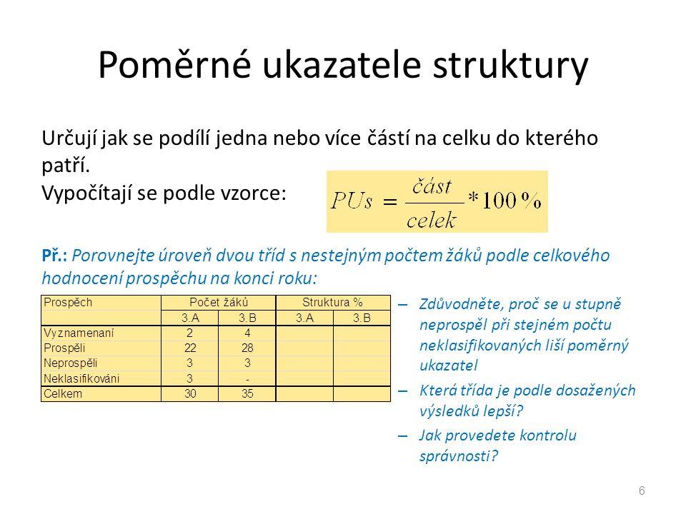 Poměrné ukazatele struktury Určují jak se podílí jedna nebo více částí na celku do kterého patří. Vypočítají se podle vzorce: Př.: Porovnejte úroveň d