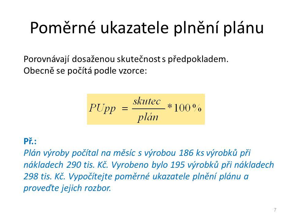 Poměrné ukazatele plnění plánu Porovnávají dosaženou skutečnost s předpokladem. Obecně se počítá podle vzorce: Př.: Plán výroby počítal na měsíc s výr