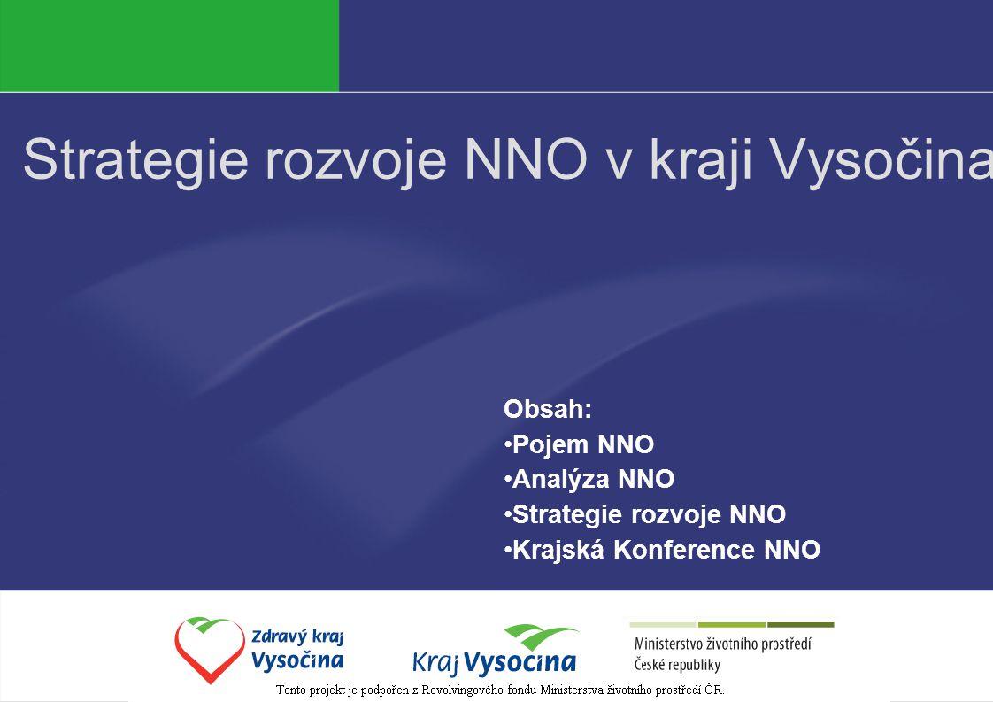 Strategie rozvoje NNO v kraji Vysočina Obsah: Pojem NNO Analýza NNO Strategie rozvoje NNO Krajská Konference NNO