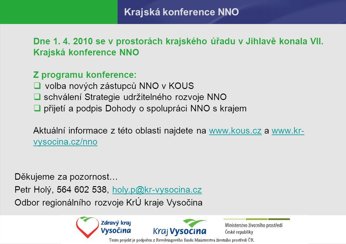 Krajská konference NNO Dne 1. 4. 2010 se v prostorách krajského úřadu v Jihlavě konala VII.