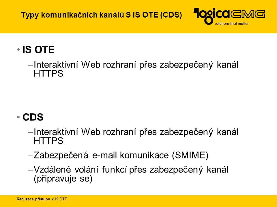 """Realizace přístupu k IS OTE Proces registarce přístupu k IS OTE Proces registrace na OTE (""""Registrační formulář C )Registrační formulář C Objednání a vydání čipové karty s privátními klíči a certifikátyObjednání Zavedení uživatele do IS OTE a registrace jeho certifikátů do LDAP serveru Replikace LDAP serveru SSL připojení s autentizací pomocí autentizčního certifikátu k IS OTE Autorizace vybraných operací v IS OTE pomocí podpisového certifikátu E-mail šifrovaná komunikace s CDS"""