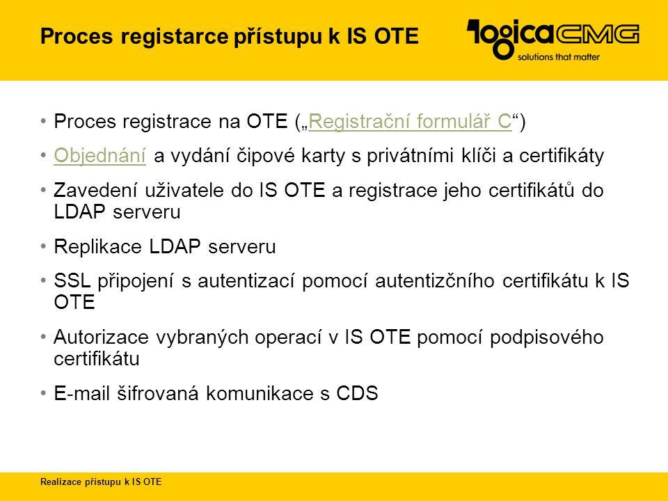 Realizace přístupu k IS OTE Jak funguje proces vydávání certifikátu na OTE CA