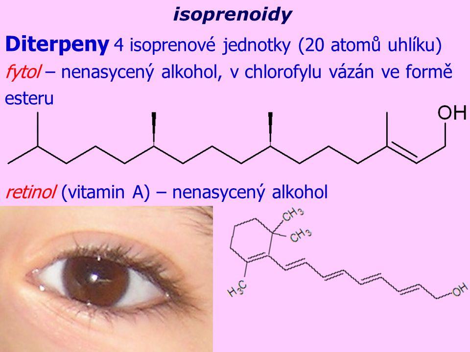 Diterpeny 4 isoprenové jednotky (20 atomů uhlíku) fytol – nenasycený alkohol, v chlorofylu vázán ve formě esteru retinol (vitamin A) – nenasycený alko