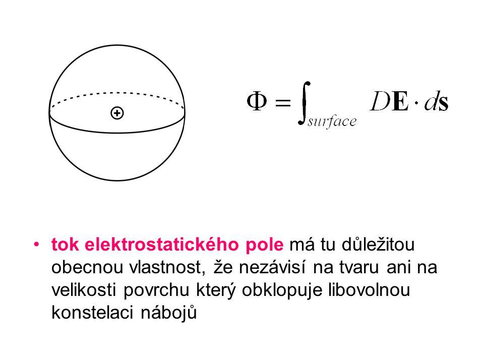tok elektrostatického pole má tu důležitou obecnou vlastnost, že nezávisí na tvaru ani na velikosti povrchu který obklopuje libovolnou konstelaci nábo