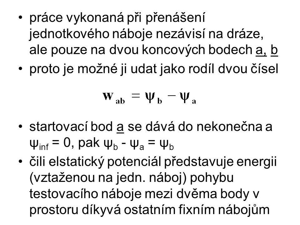 práce vykonaná při přenášení jednotkového náboje nezávisí na dráze, ale pouze na dvou koncových bodech a, b proto je možné ji udat jako rodíl dvou čís