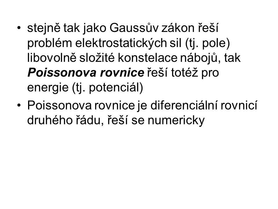 stejně tak jako Gaussův zákon řeší problém elektrostatických sil (tj. pole) libovolně složité konstelace nábojů, tak Poissonova rovnice řeší totéž pro