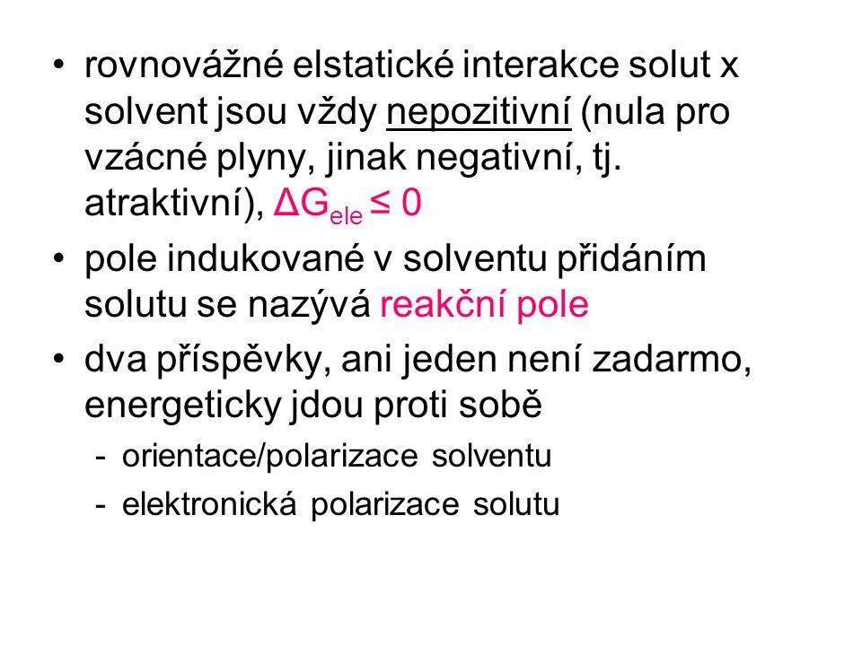 rovnovážné elstatické interakce solut x solvent jsou vždy nepozitivní (nula pro vzácné plyny, jinak negativní, tj. atraktivní), ΔG ele ≤ 0 pole induko