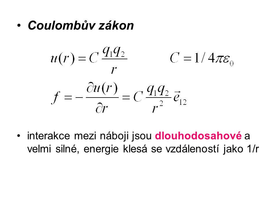 Coulombův zákon interakce mezi náboji jsou dlouhodosahové a velmi silné, energie klesá se vzdáleností jako 1/r