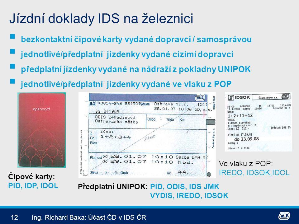12Ing. Richard Baxa: Účast ČD v IDS ČR Jízdní doklady IDS na železnici  bezkontaktní čipové karty vydané dopravci / samosprávou  jednotlivé/předplat