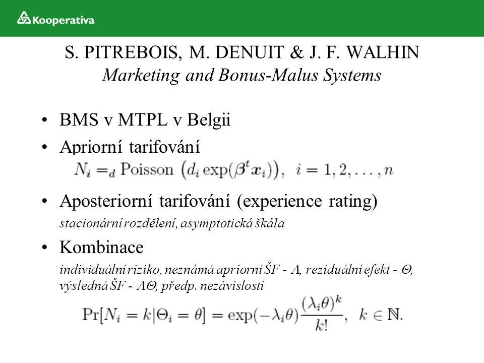 S. PITREBOIS, M. DENUIT & J. F. WALHIN Marketing and Bonus-Malus Systems BMS v MTPL v Belgii Apriorní tarifování Aposteriorní tarifování (experience r