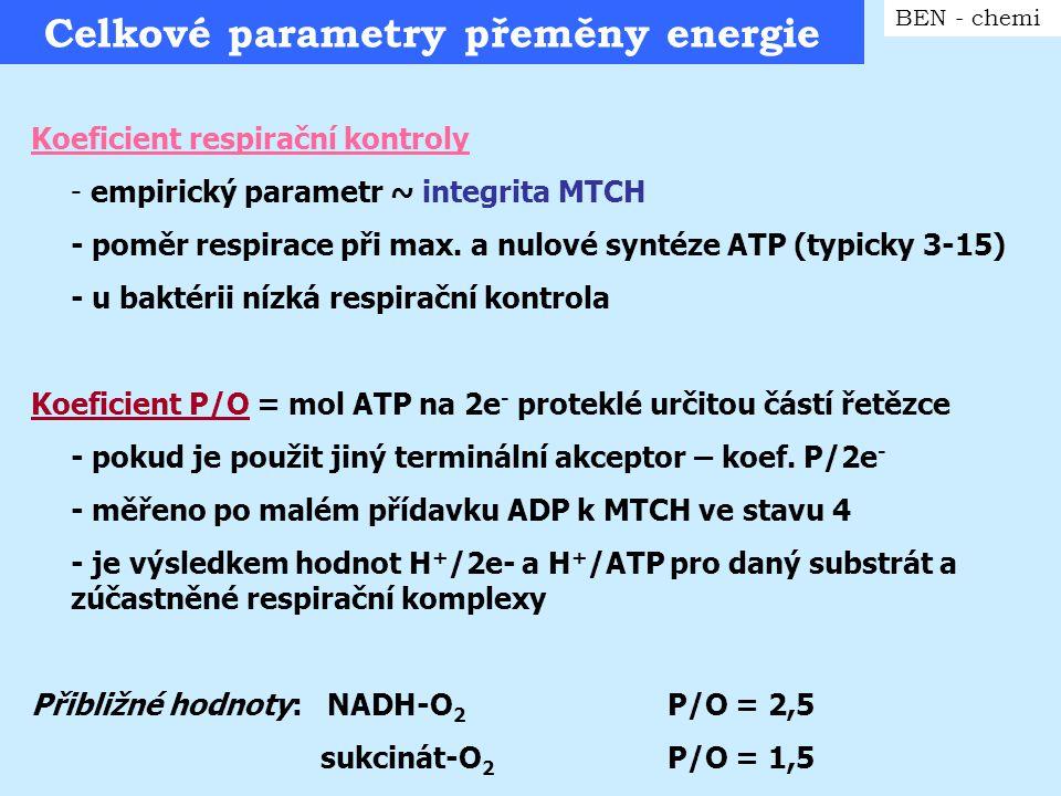 Celkové parametry přeměny energie BEN - chemi Koeficient respirační kontroly - empirický parametr ~ integrita MTCH - poměr respirace při max. a nulové