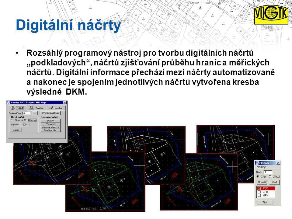 """Digitální náčrty Rozsáhlý programový nástroj pro tvorbu digitálních náčrtů """"podkladových"""", náčrtů zjišťování průběhu hranic a měřických náčrtů. Digitá"""