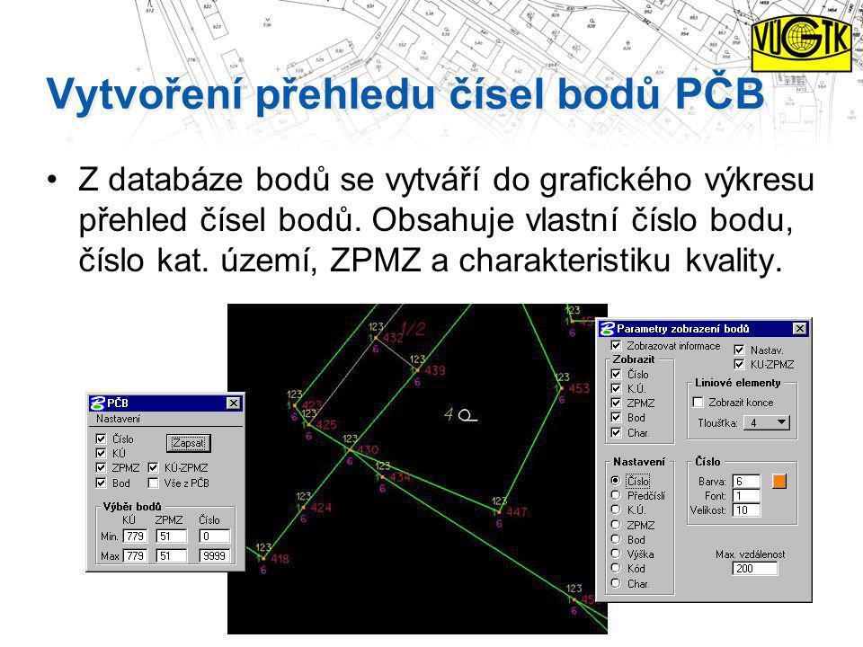 Vytvoření přehledu čísel bodů PČB Z databáze bodů se vytváří do grafického výkresu přehled čísel bodů. Obsahuje vlastní číslo bodu, číslo kat. území,