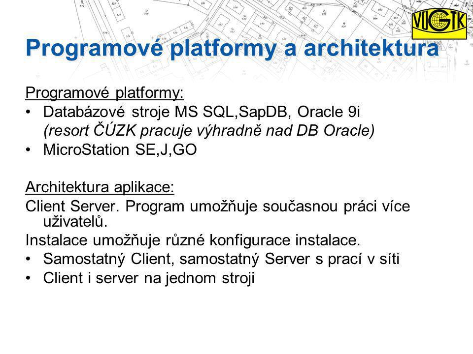 Programové platformy a architektura Programové platformy: Databázové stroje MS SQL,SapDB, Oracle 9i (resort ČÚZK pracuje výhradně nad DB Oracle) Micro