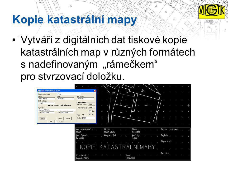 """Kopie katastrální mapy Vytváří z digitálních dat tiskové kopie katastrálních map v různých formátech s nadefinovaným """"rámečkem"""" pro stvrzovací doložku"""