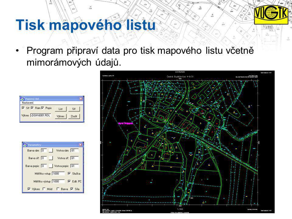 Tisk mapového listu Program připraví data pro tisk mapového listu včetně mimorámových údajů.