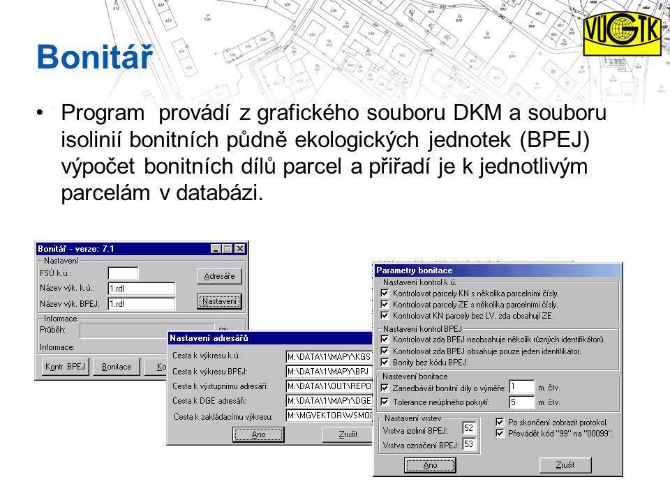 Bonitář Program provádí z grafického souboru DKM a souboru isolinií bonitních půdně ekologických jednotek (BPEJ) výpočet bonitních dílů parcel a přiřa