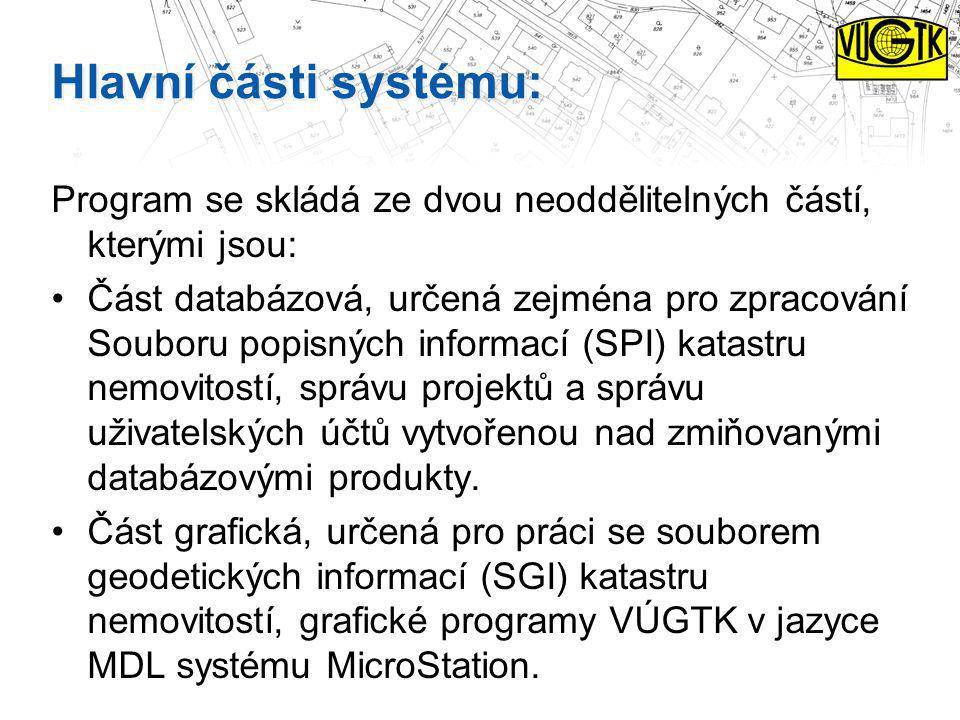 Hlavní části systému: Program se skládá ze dvou neoddělitelných částí, kterými jsou: Část databázová, určená zejména pro zpracování Souboru popisných