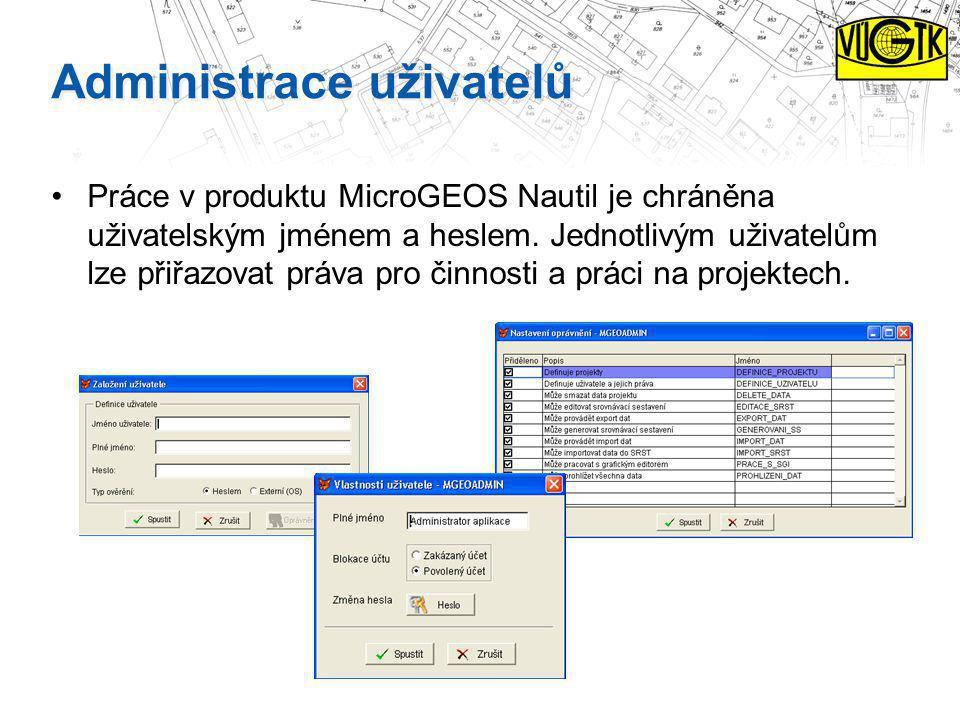 Administrace uživatelů Práce v produktu MicroGEOS Nautil je chráněna uživatelským jménem a heslem. Jednotlivým uživatelům lze přiřazovat práva pro čin