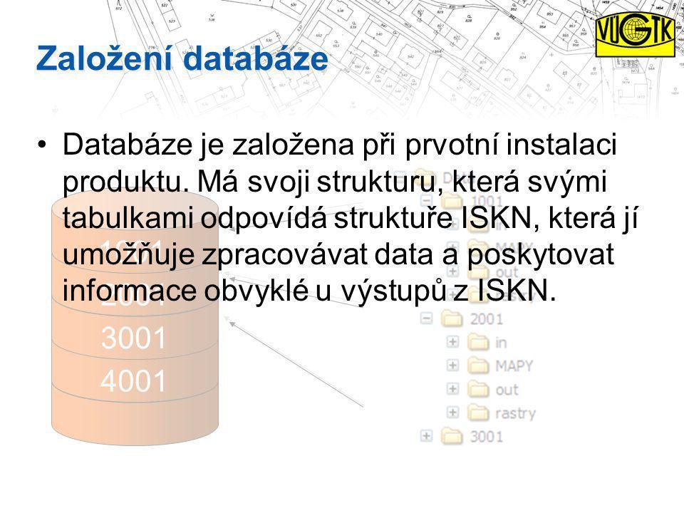 2001 4001 3001 1001 Založení databáze Databáze je založena při prvotní instalaci produktu. Má svoji strukturu, která svými tabulkami odpovídá struktuř