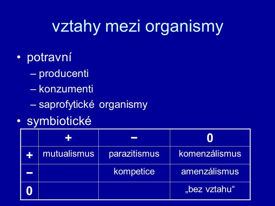 """vztahy mezi organismy potravní –producenti –konzumenti –saprofytické organismy symbiotické +−0 + mutualismusparazitismuskomenzálismus − kompeticeamenzálismus 0 """"bez vztahu"""